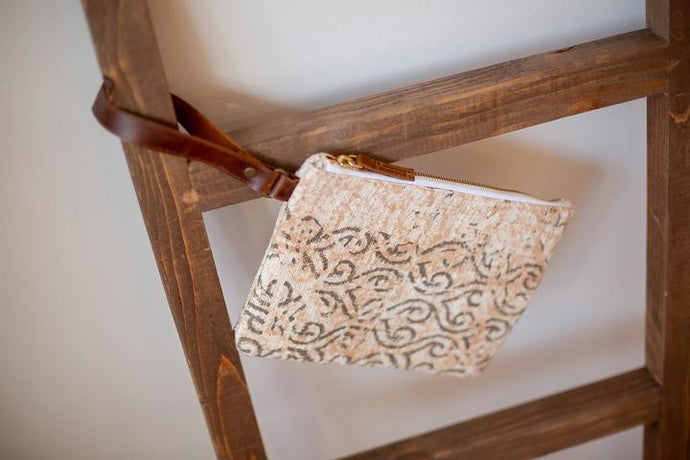 Marian Clutch in Peach & Gray - Upholstery Fabric & Leather Handle