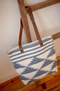 The Helena Tote in Blue & White - Upholstery Fabric & Leather
