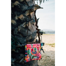 Load image into Gallery viewer, The Sunbird Embroidered Crossbody Purse in Pink & White