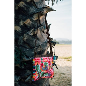 The Sunbird Embroidered Crossbody Purse in Pink & White