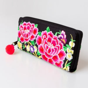 The Lotus Embroidered Zipper Wallet