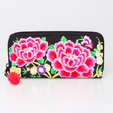 Load image into Gallery viewer, The Lotus Embroidered Zipper Wallet