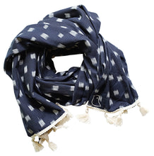 Load image into Gallery viewer, August Blue Tassel Scarf