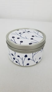 Blue & White 6 oz Tin Candles