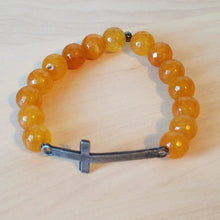 Load image into Gallery viewer, Cross Stone Stretch Bracelet