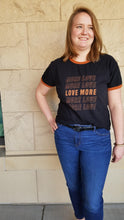 "Load image into Gallery viewer, ""Love More"" Black Graphic Ringer Tee"