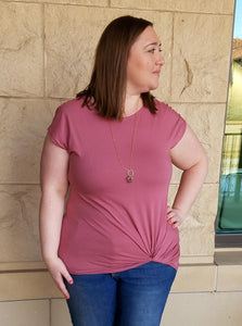 The Sita Twist Front Tee in Sunset Pink