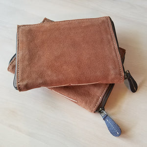 Suede Zip Around Leather Journal with Pen & Card Holder - Brown, Blank Pages