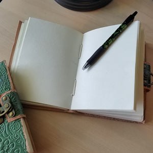 Handmade Embossed Leather Journal - Green, Blank Pages