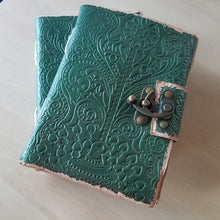 Load image into Gallery viewer, Handmade Embossed Leather Journal - Green, Blank Pages