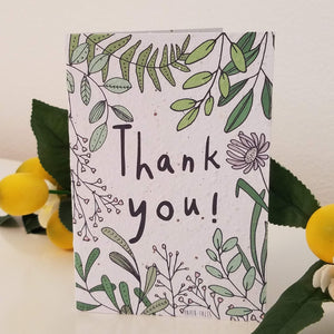 """Thank You!"" with Plants & Greenery Growing Paper Greeting Card 