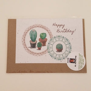 """Happy Birthday"" with Cactus Growing Paper Greeting Card 
