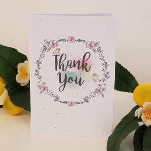 """Thank You!"" with Watercolors Wreath Growing Paper Greeting Card 