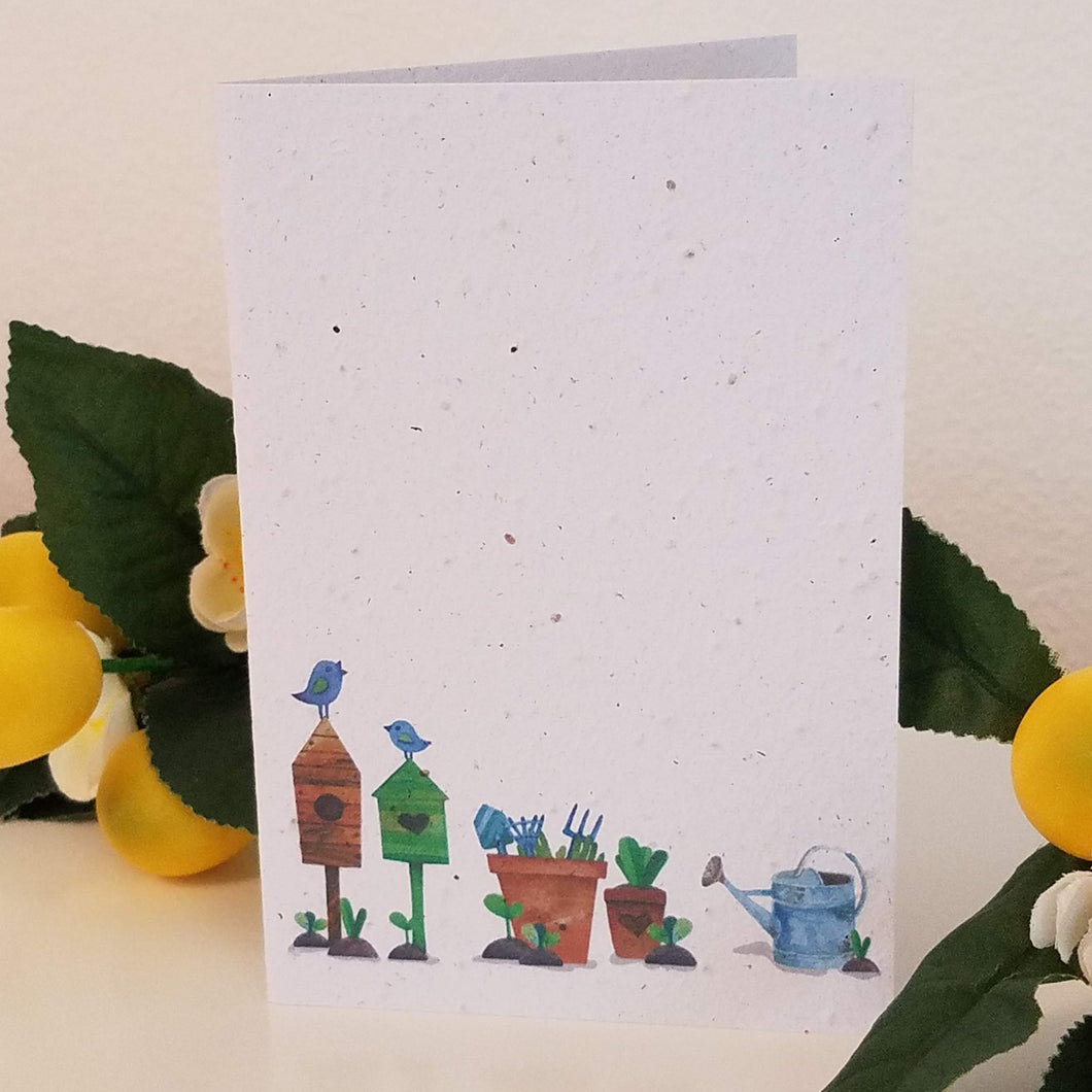 Garden Scene Growing Paper Greeting Card || All Occasion