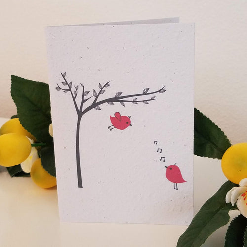 Red Birds Growing Paper Greeting Card || All Occasion