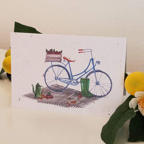 Fall Picnic with Bicycle Growing Paper Greeting Card || All Occasion