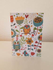 Owls and Flowers Growing Paper Greeting Card || All Occasion