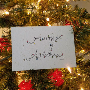 """Merry Christmas"" Twinkle Lights Growing Paper Greeting Card 