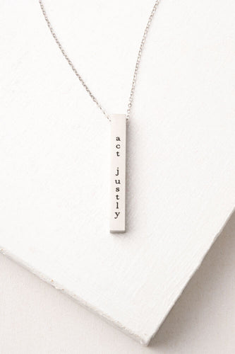 Justice: Act Justly, Love Mercy, Walk Humbly Silver Bar Necklace