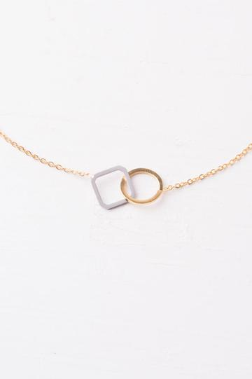 Caprice Circle & Square Pendant Necklace