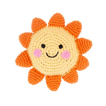 Friendly Sun Rattle - Crocheted Cotton Stuffed Animal
