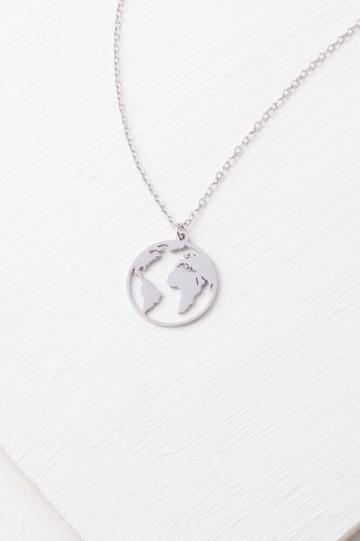 Silver World Pendant Necklace