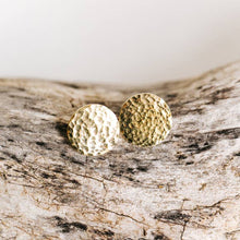 Load image into Gallery viewer, Hammered Brass Stud Earrings