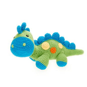 Green Steggy Dinosaur Rattle - Crocheted Cotton Stuffed Animal
