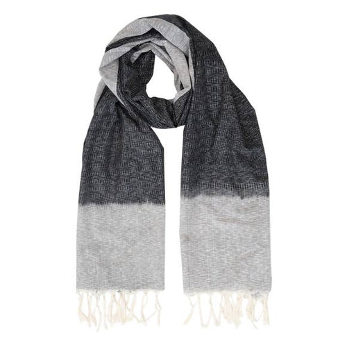 Black & Gray Tassel Scarf
