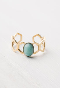 Kady Blue Amazonite Gold Honeycomb Adjustable Ring