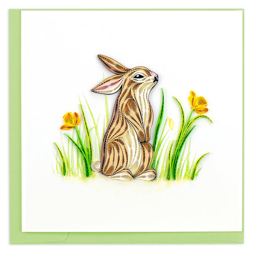 Rabbit Quilling Greeting Card ||  Spring, Nature, All Occasion