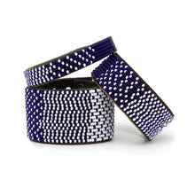 Load image into Gallery viewer, Beaded Leather Cuff Bracelet in Navy - Various Sizes