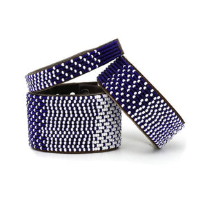 Beaded Leather Cuff Bracelet in Navy - Various Sizes