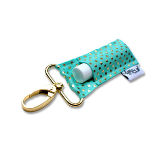 LippyClip® The Original Lip Balm Holder -  Aqua Gold Dots