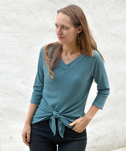 Bleecker Tie-Front Top in River Blue