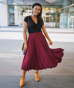 Bowery Circle Midi Skirt in Burgundy