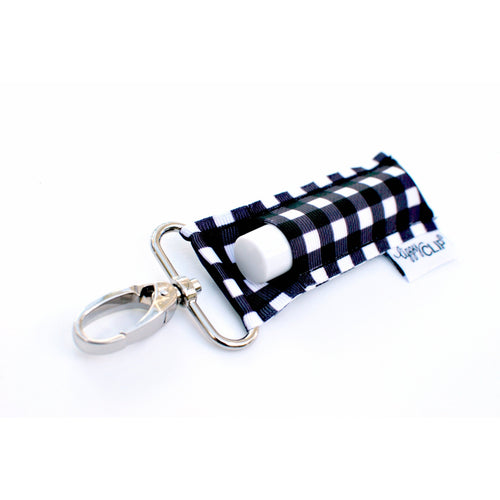 LippyClip® The Original Lip Balm Holder -  Black & White Buffalo Check