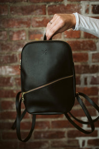 Panha Mini Backpack in Black - Reclaimed Vegan Leather