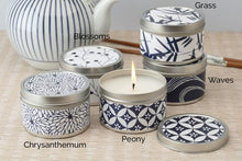 Load image into Gallery viewer, Blue & White 6 oz Tin Candles