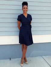 Load image into Gallery viewer, Black & Blueberry Wrap Dress