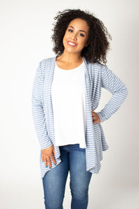 Sky Striped Waterfall Cardigan Top