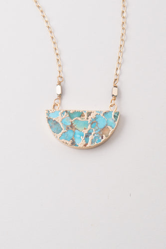 Lexis Turquoise Half Moon Pendant Necklace