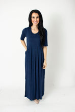 Load image into Gallery viewer, Navy Empire Maxi Dress