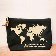 "Load image into Gallery viewer, Black & Gold Map Travel Pouch - ""Change the World, Empower the People"""