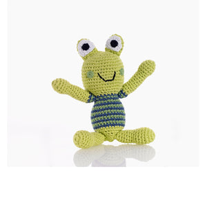 Frog Rattle - Crocheted Cotton Stuffed Animal