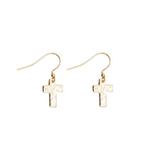 Load image into Gallery viewer, Cross Drop Earrings in Gold Plate