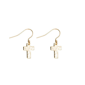 Cross Drop Earrings in Gold Plate