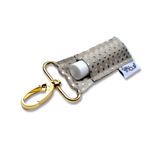 LippyClip® The Original Lip Balm Holder -  Gray Gold Dots