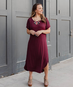 The Heights Midi Dress in Burgundy
