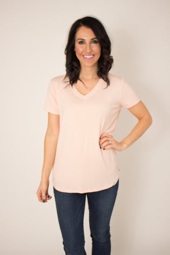 Almost Mauve V-Neck T-Shirt Top